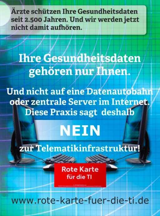 Plakat Nein zur Telematikinfrastruktur